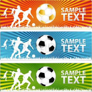 3 banners with Soccer ballor Football and silhouettes of players on grass