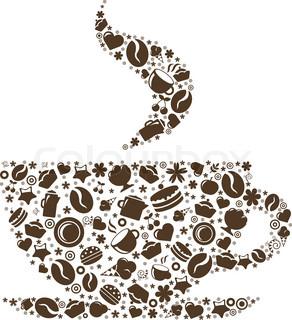 Kop kaffe, stiliseret billede , isoleret på hvid baggrund , Vector Illustration