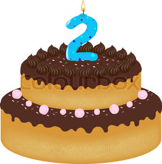 Birthday Cake With Candles With Number Two Isolated On
