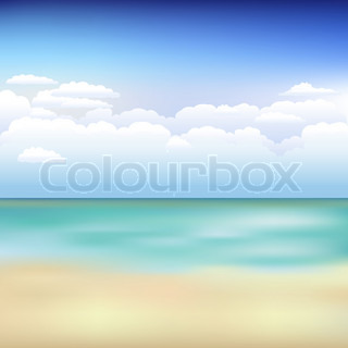 Beautiful Background With Beach, Blue Sky And Clouds