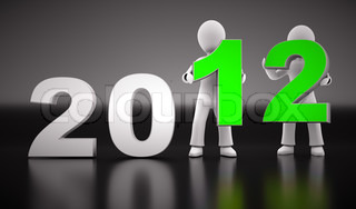 New year 2012 shape with two 3d characters on black background