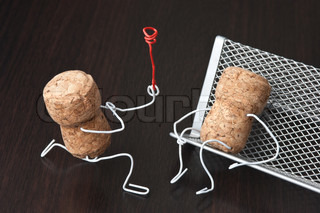 two wine corks, dating