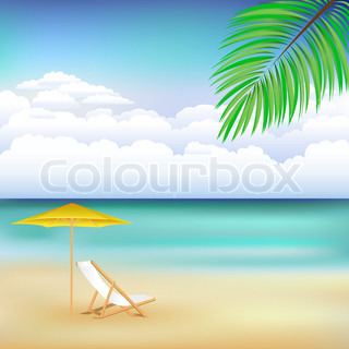 Beautiful Vector Background With Beach, Chaise Lounge, Beach Umbrella And Blue Sky