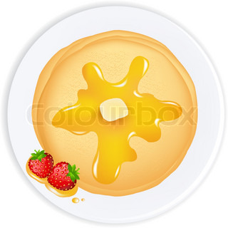 Pancakes With Oil, Honey And Strawberry,Isolated On White Background, Vector Illustration