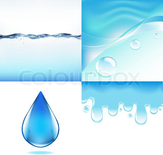 4 Images Of Water, Vector Illustration