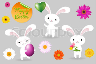 3 Rabbits With Egg, Balloon And Fower, Happy Easter Greeting Card, Vector Illustration
