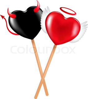Two lollipops with heart shape like a demon and angel