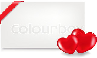 2 Hearts And Blank Gift Tag With Tape, Isolated On White Background, Vector Illustration