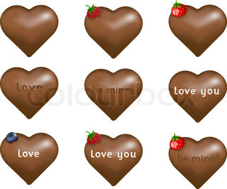 Chocolate candy hearts with berries or love notes