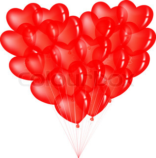 Bunch Of Red Heart Shape Balloons, Isolated On White