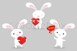 3 Rabbits With Hearts, Valentines Day Greeting Card, Vector Illustration