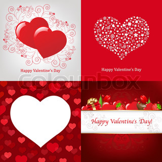 4 Greeting Card For Valentine's Day, Vector Illustration
