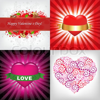 4 Valentines Day Card With Text, Vector Illustration