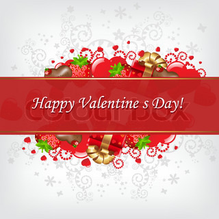 Greeting Card For Valentine's Day, Vector Illustration