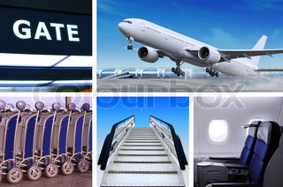 collage of air transportation with details and accessories