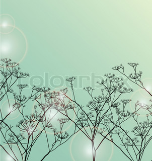 Floral green card, background with light