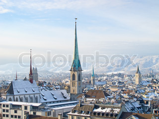 Famous Zurich churches covered by first snow
