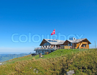 Small restaurant on the peak swiss alps stock photo colourbox - Impressive house with tranquil environment to get total relaxation ...