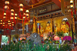 Interior of the Po Lin monastery on Lantau Island Hong Kong