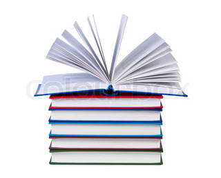 Open book on stack of books isolated