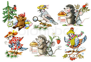 Cartoon animals. Objects isolated on white background.