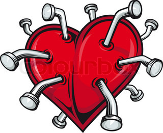Broken heart with nails for tattoo or t-shirt design
