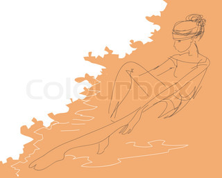 Line sketch of a girl sitting on a beach near the surf