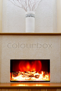 Electric fireplace in the interior of the scenery