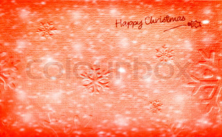 Beautiful red happy Christmas card,winter holiday background, decoration paper with snow ornament