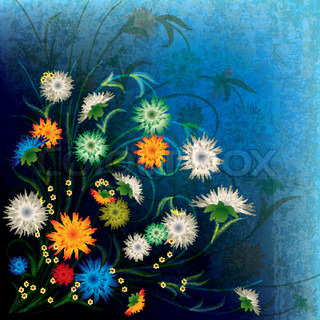 abstract grunge illustration with spring flowers on dark blue