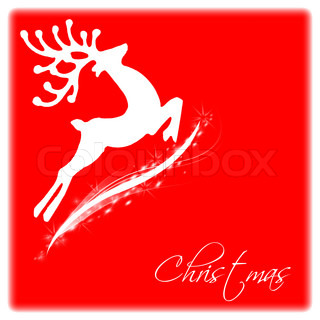 Flying Santa's reindeer, white border with text space, Christmas tree ornament and winter holidays decoration isolated on red