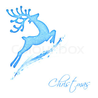 Flying Santa's reindeer, blue border with text space, Christmas tree ornament and winter holidays decoration isolated on white