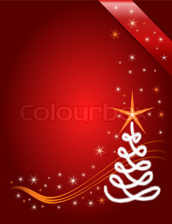 Red Christmas template, red background with stars