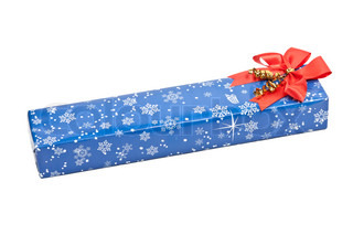 blue box, a gift with a red bow on a white background