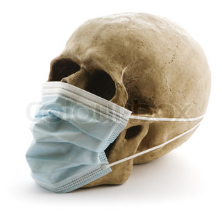 skull with protective medicine mask on white background