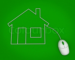 real estate online concept. house with computer mouse over green