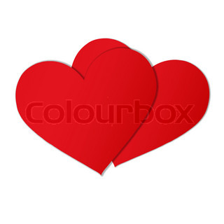two red paper hearts against white background