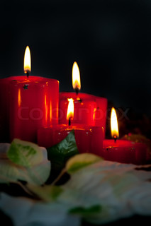 The christmas still life - red candles and flower