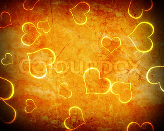 glowing heart shape with stars on grunge
