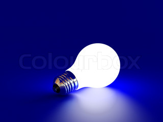 High resolution image white bulb on a blue background