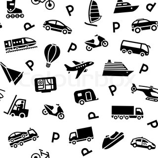 Seamless background, transport icons, wrapping paper
