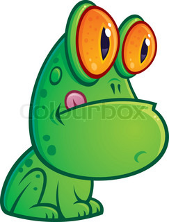 Vector cartoon illustration of a silly green frog with orange eyes sitting with his tongue sticking out