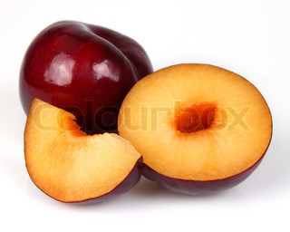 Fresh plum with slices Use it for a health and nutrition concept