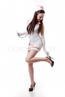 sexy nurse in a white coat with a stethoscope Isolation of a white background