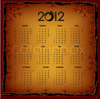 New Years calendar 2012, vector illustration