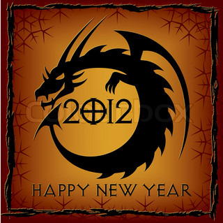 Black Dragon. 2012 New Year Card. Vector illustration