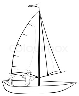 Sailing boat with a man and a woman, contours on white background