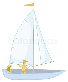 Sailing boat with a man and a woman, isolated on white