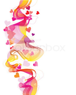 Colorful abstract background with hearts and wave