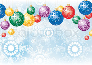 Christmas background with colorful decoration balls and snowflakes